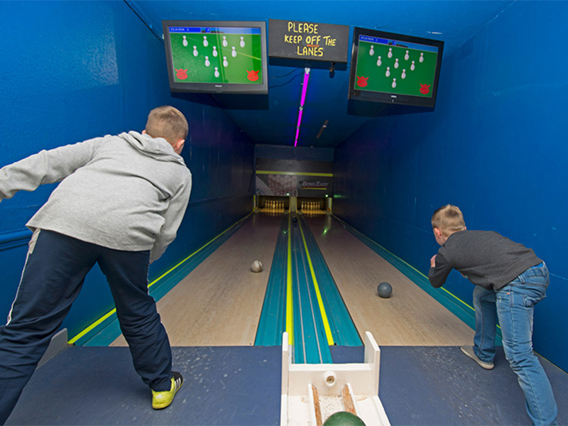 Test your skill at our mini ten pin bowling alley