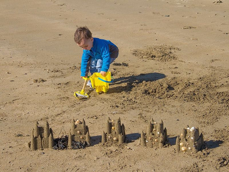 Remember building sandcastle on the beach? You can do that here! Or swim in the sea, explore rockpools, play beach volleyball or write your name in the sand….